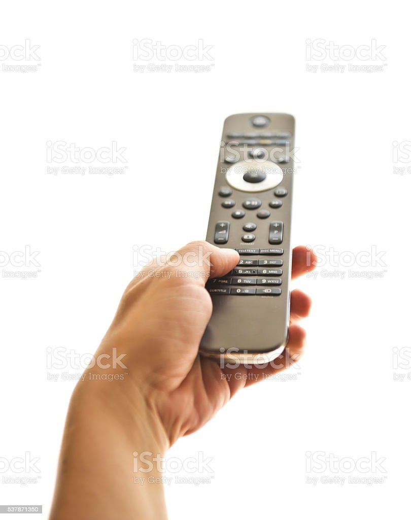 Female Hand Holding a Remote Controller stock photo