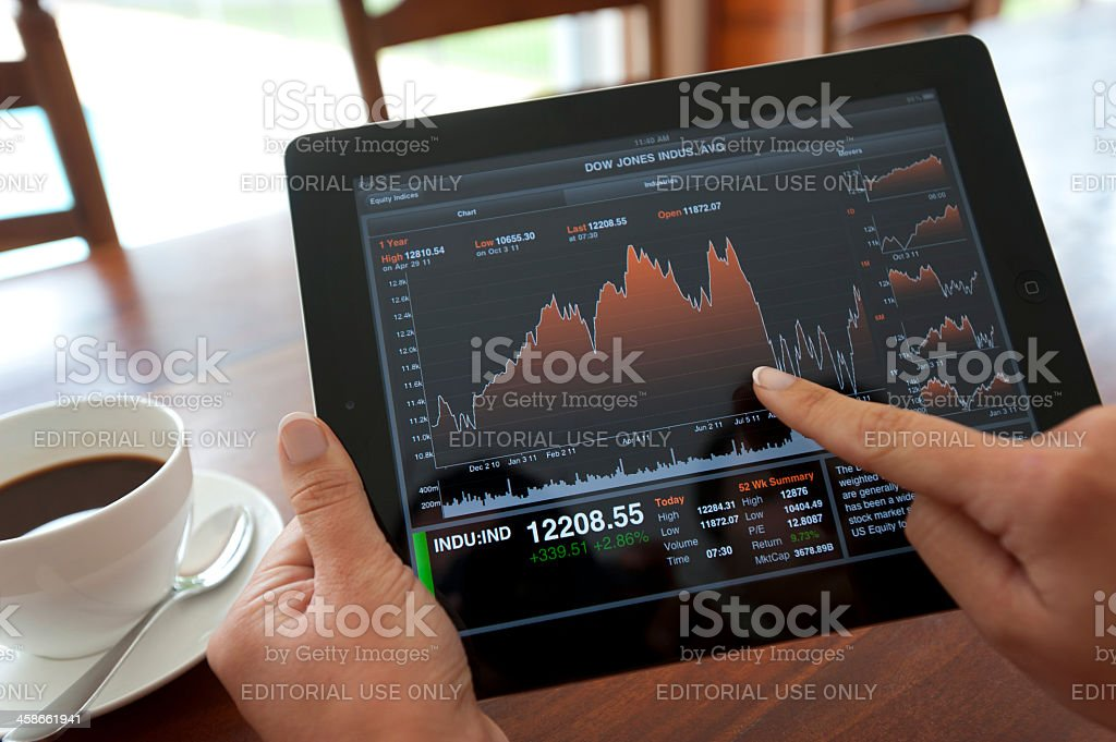 Female hand holding an ipad showing financial charts and graphs royalty-free stock photo