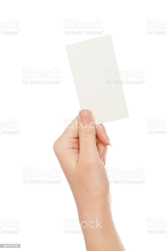Female hand holding blank card for text message, crop, cut out stock photo