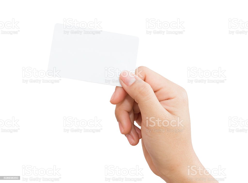 female hand holding blank card isolated clipping path stock photo