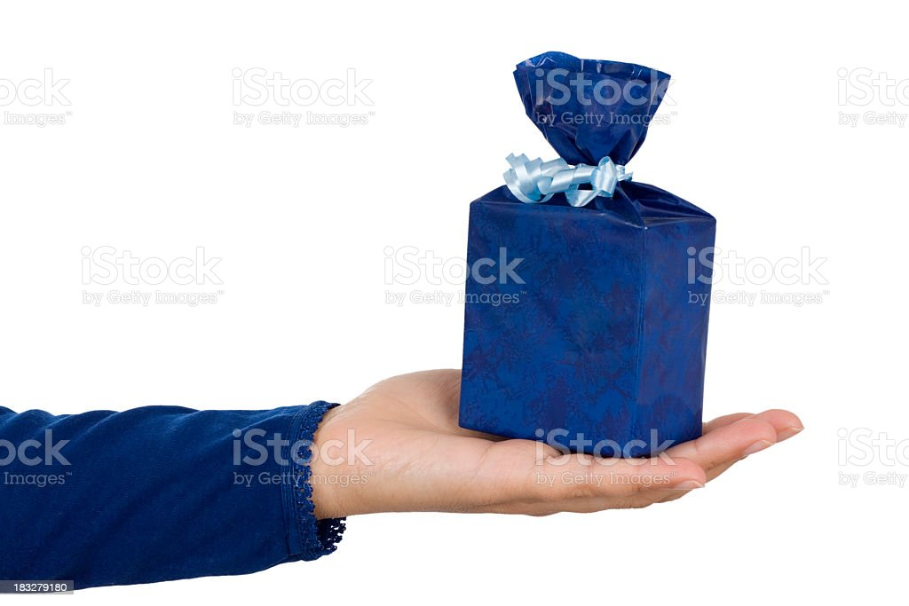 female hand holding gift royalty-free stock photo