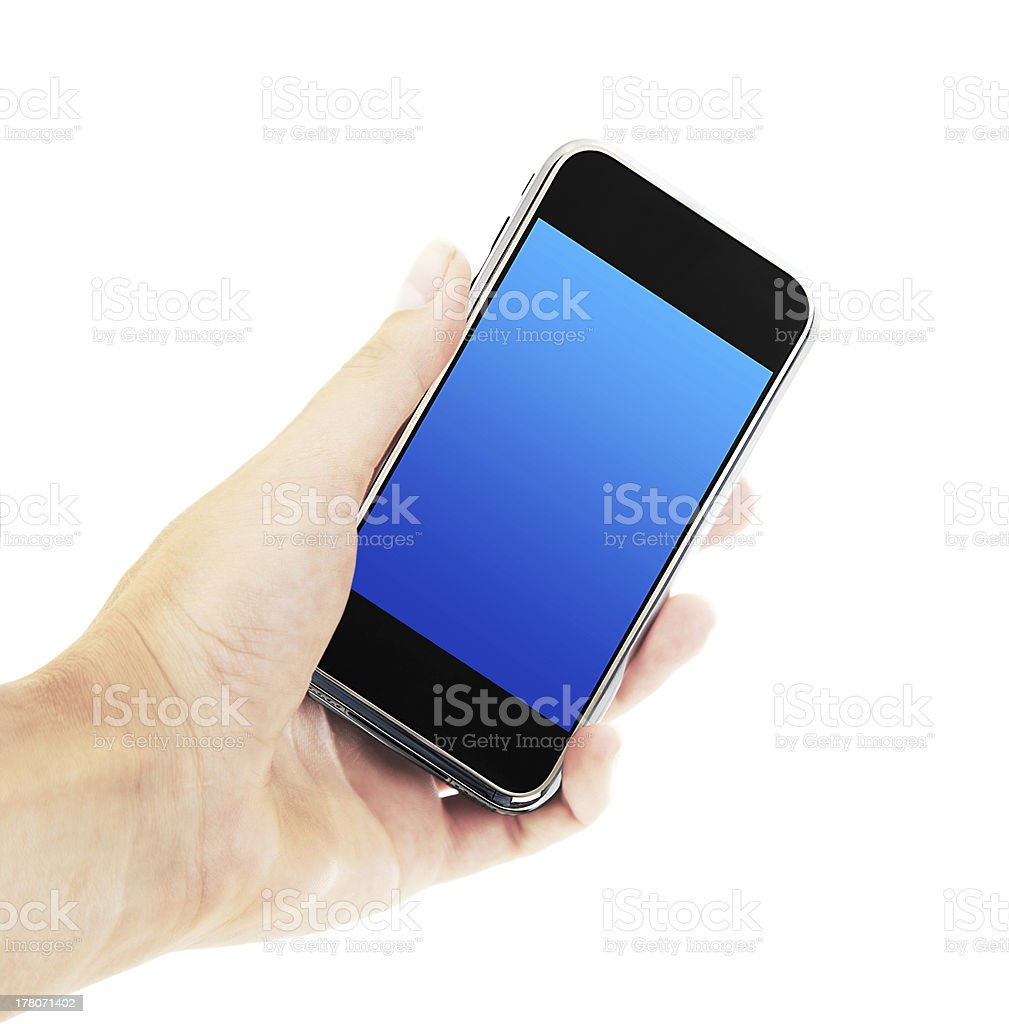 Female hand holding mobile phone royalty-free stock photo
