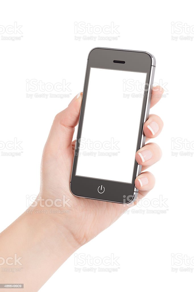 Female hand holding modern black mobile smart phone stock photo