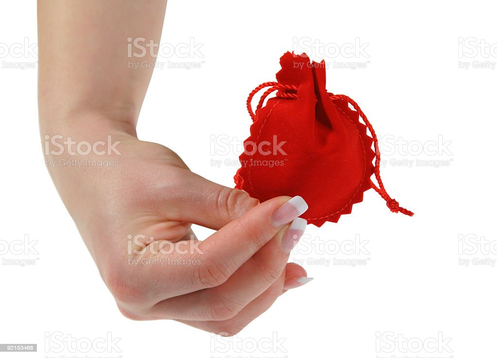 female hand holding red gift royalty-free stock photo