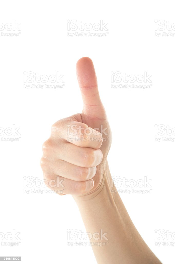 Female Hand is Making OK Sign on White Background stock photo