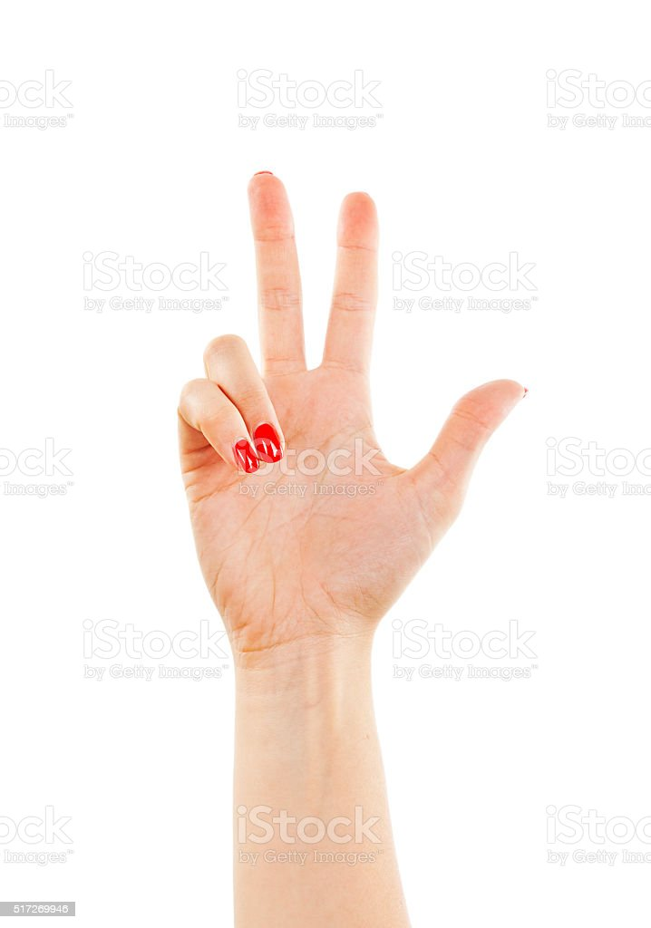 Female hand is showing three fingers stock photo