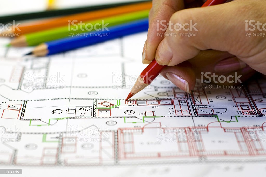Female hand make the drawing royalty-free stock photo