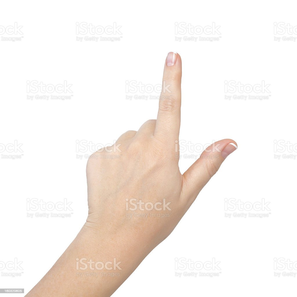 Female hand pointing on a white background stock photo