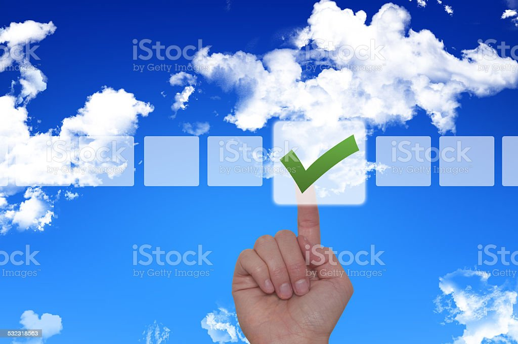 Female Hand Touching Button and Ticking Check Box stock photo