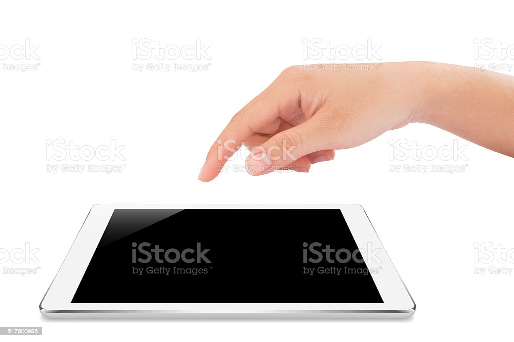 female hand touching on mockup tablet isolated with clipping path stock photo