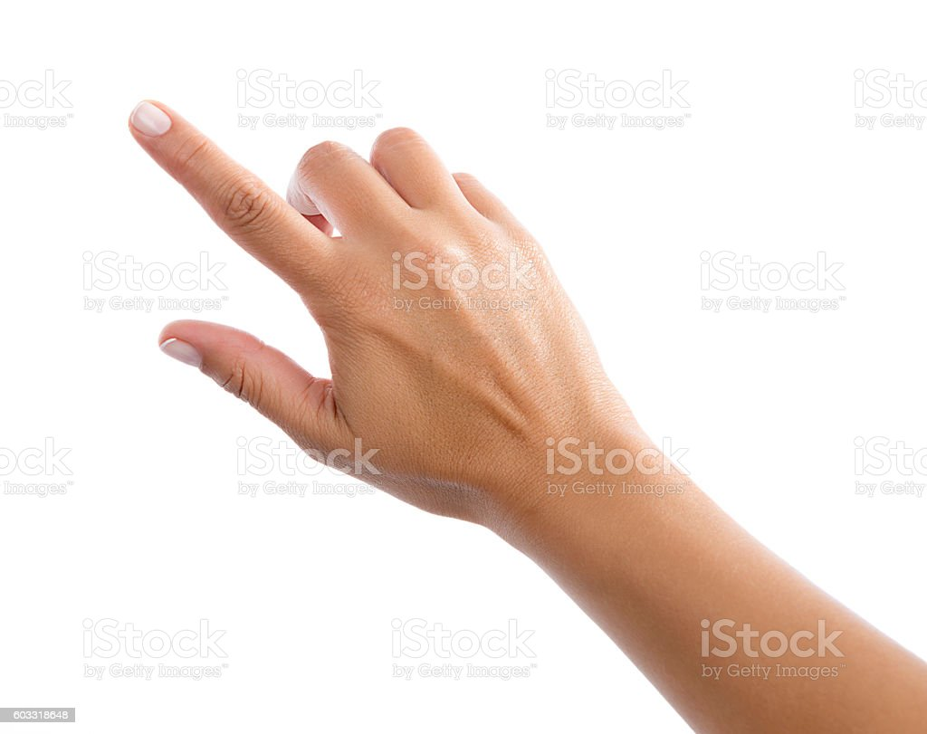 Female Hand Touching Virtual Screen stock photo