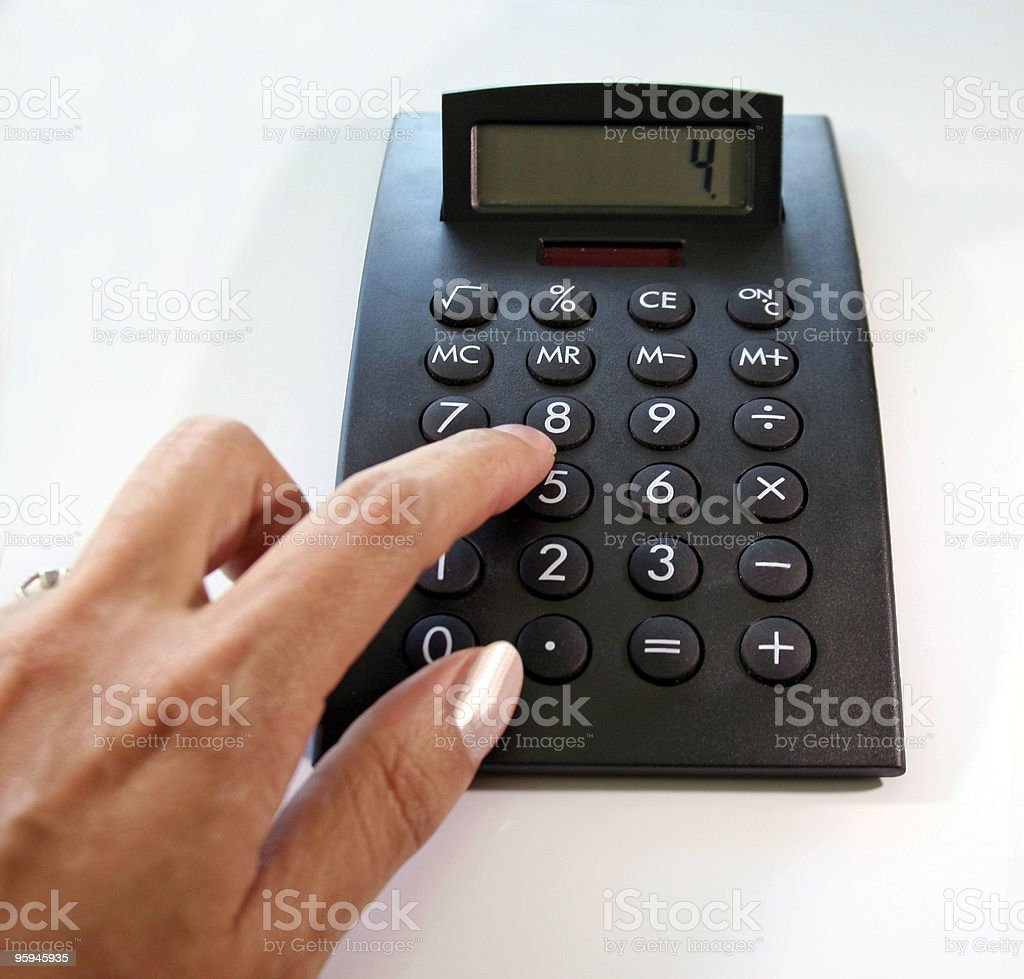 Female Hand Using a Calculator royalty-free stock photo