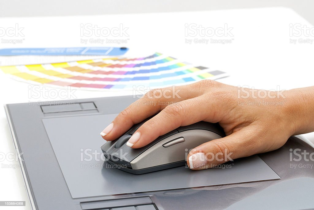 Female hand using mouse on digital tablet. royalty-free stock vector art