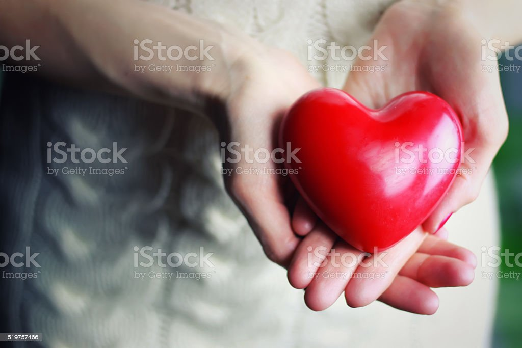 female hand valentine heart stock photo