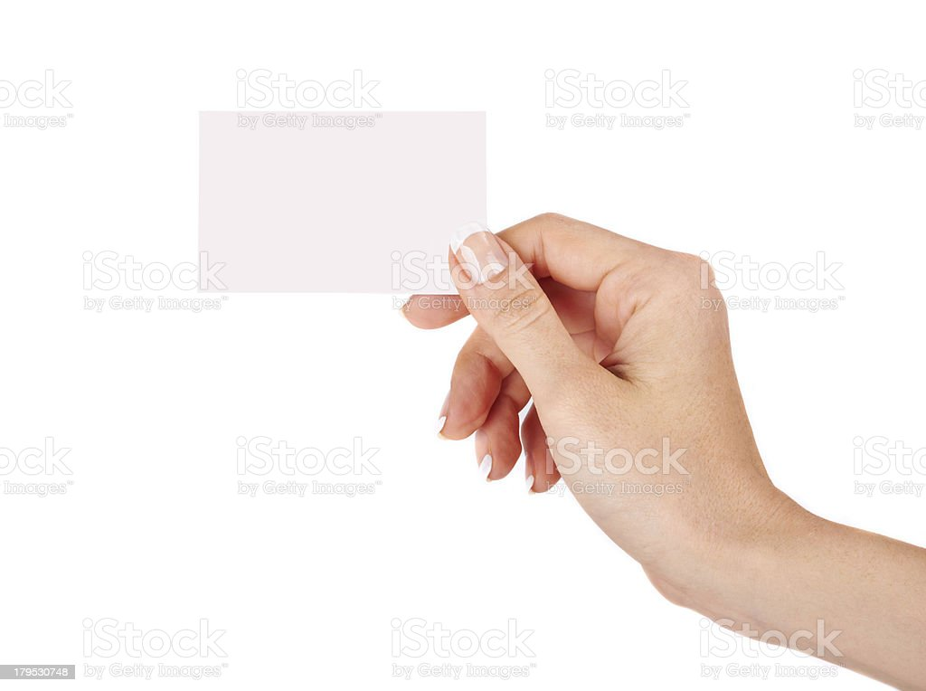 Female hand with a blank card royalty-free stock photo