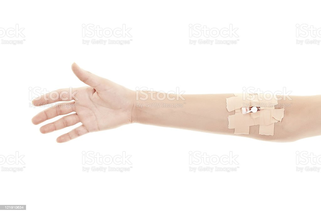 Female hand with a system for infusion stock photo