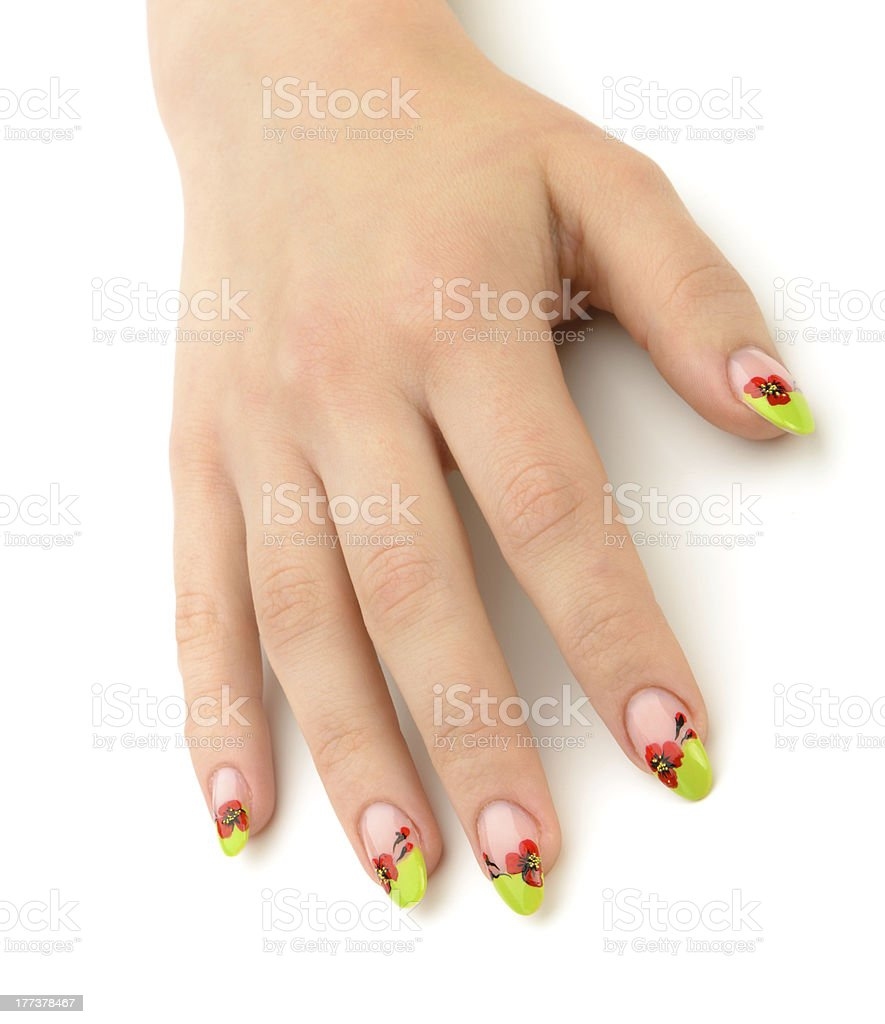 Female hand with manicure closeup.Isolated on white royalty-free stock photo