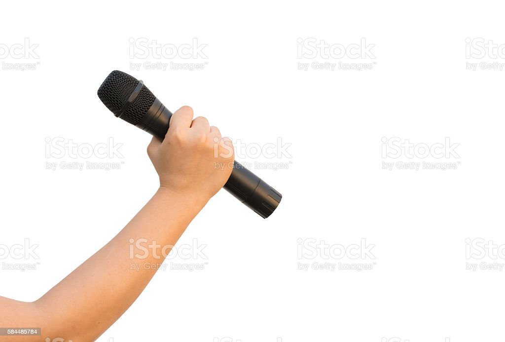 female hand with microphone isolate on white background stock photo