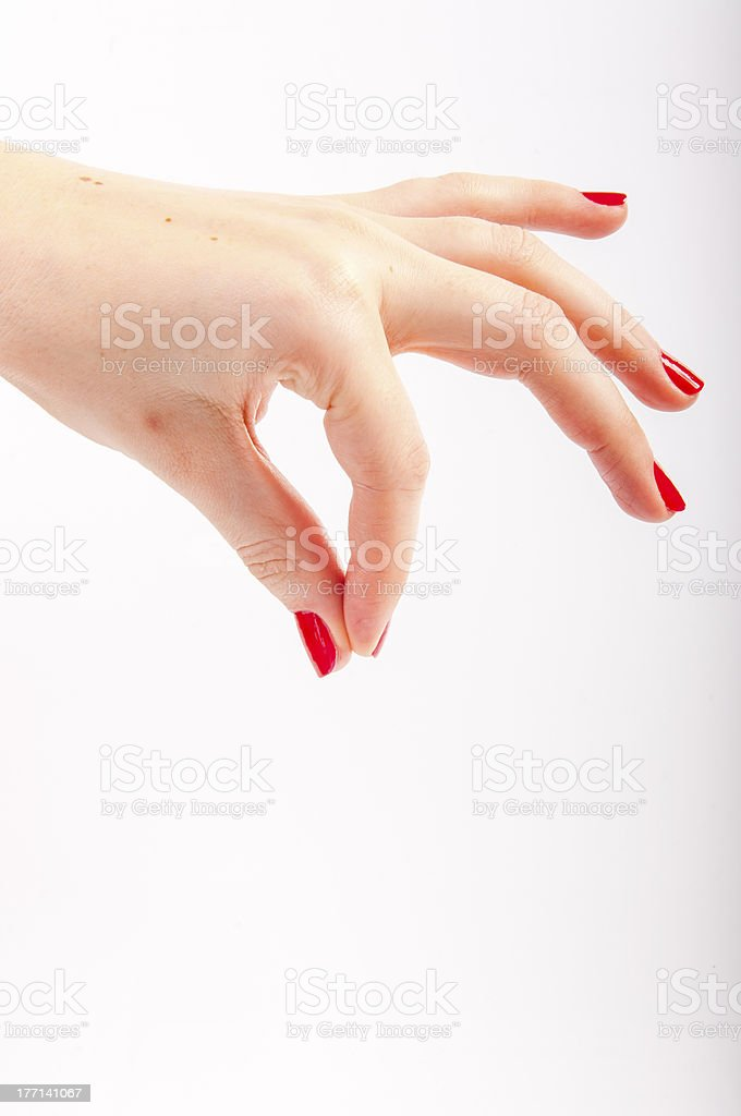 Female hand with red painted nails royalty-free stock photo