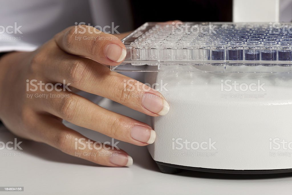 Female hand with samples stock photo