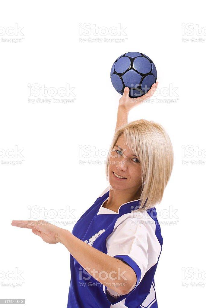 female handball player stock photo
