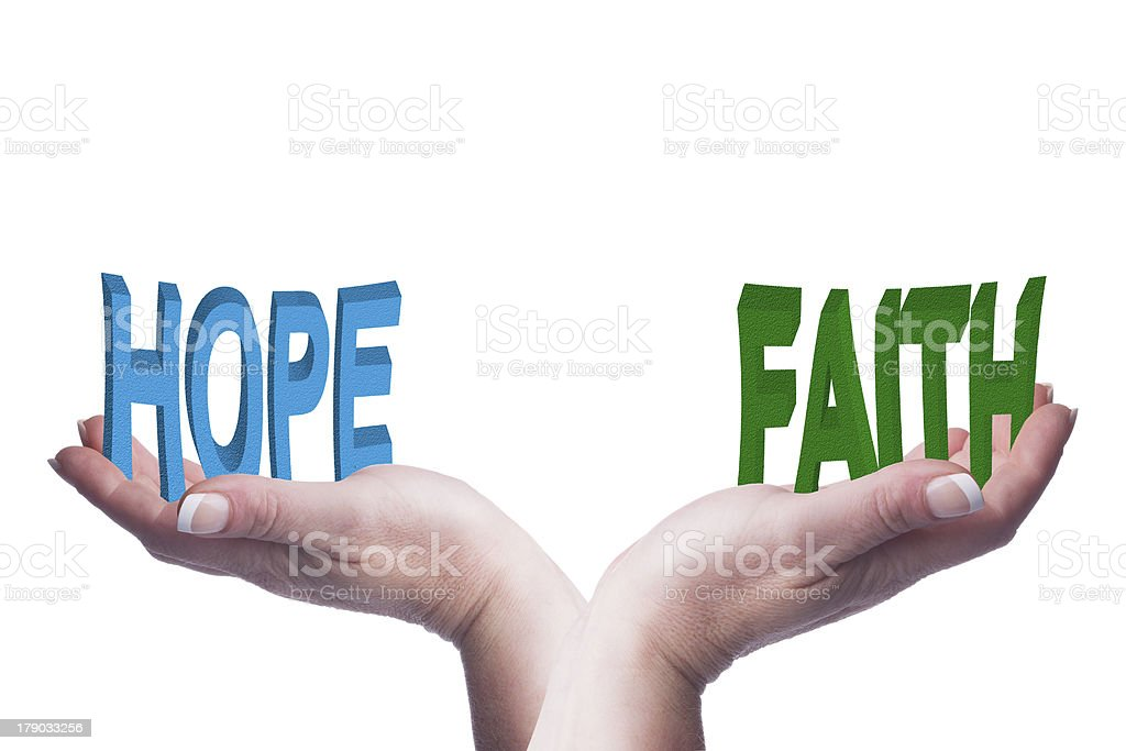 Female hands balancing hope and faith 3D words conceptual image royalty-free stock photo