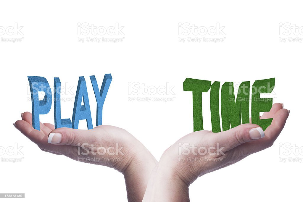 Female hands balancing play and time 3D words conceptual image royalty-free stock photo