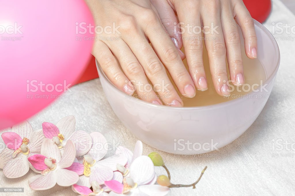 female hands before the manicure stock photo