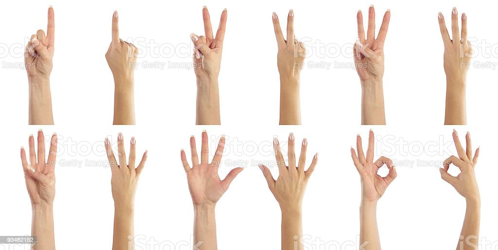 Female hands counting from 1 to 6 royalty-free stock photo