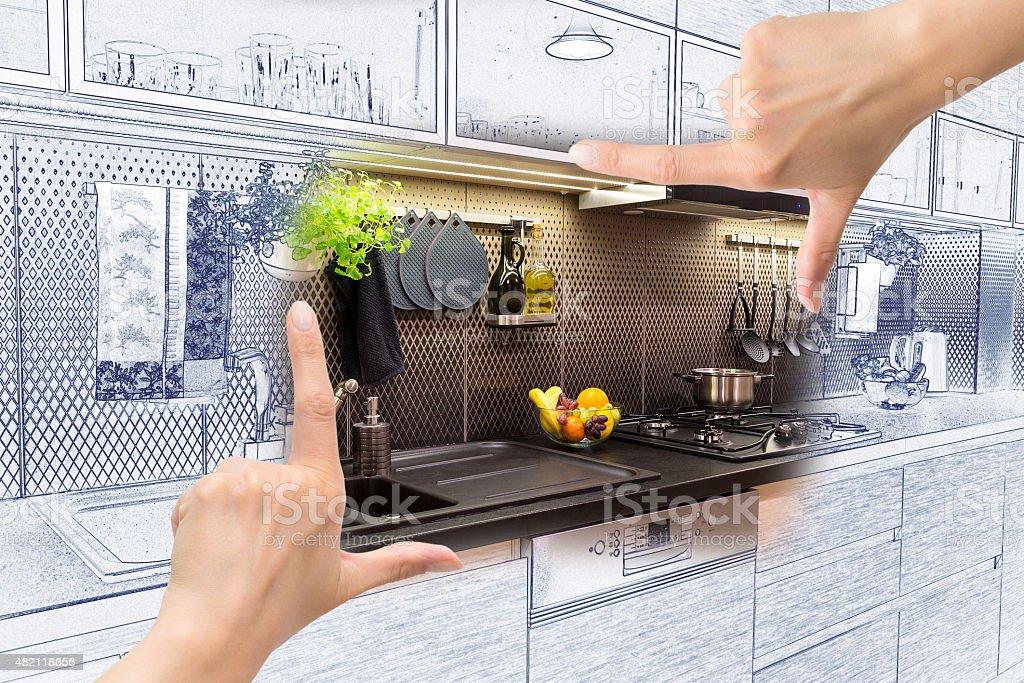 Female hands framing custom kitchen design. stock photo