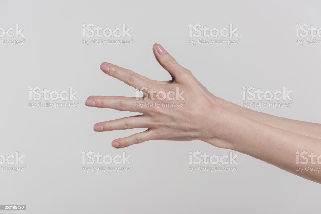 female hands gesturing stock photo