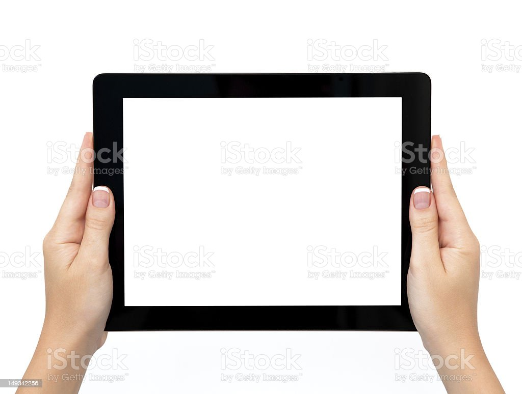 female hands holding a tablet stock photo