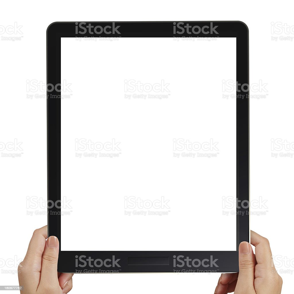 female hands holding a tablet touch computer gadget royalty-free stock photo