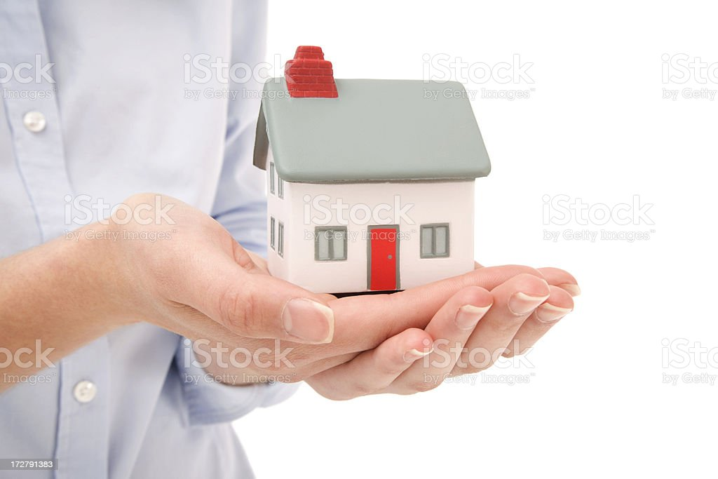 Female hands holding concept house royalty-free stock photo
