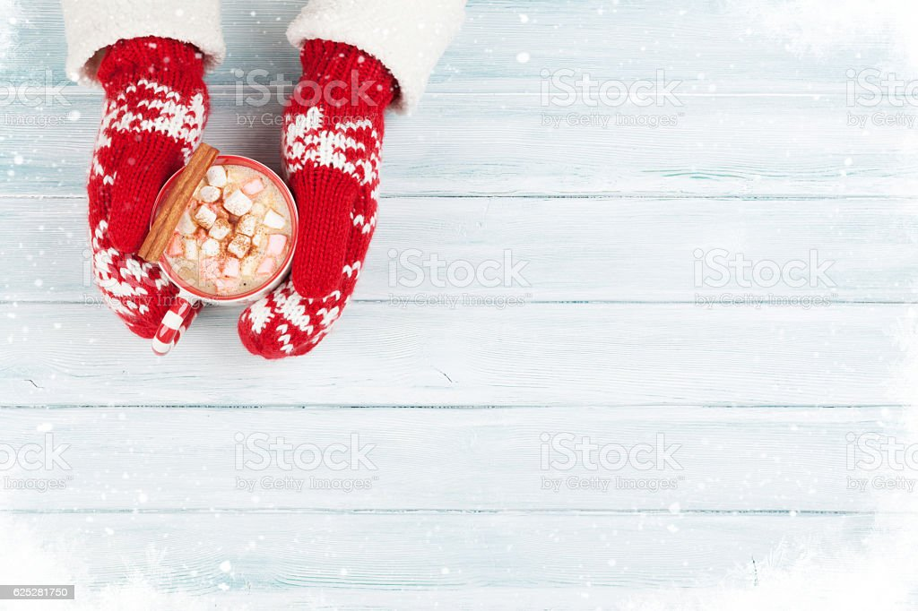 Female hands holding hot chocolate stock photo
