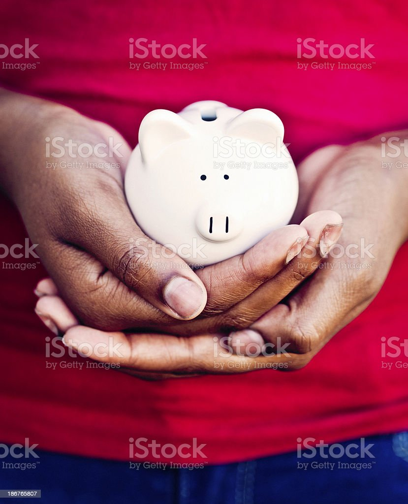 Female Hands Holding Piggy Bank royalty-free stock photo