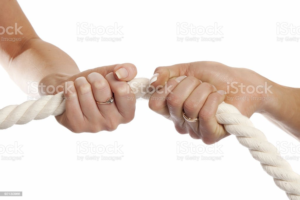 Female hands holding rope stock photo