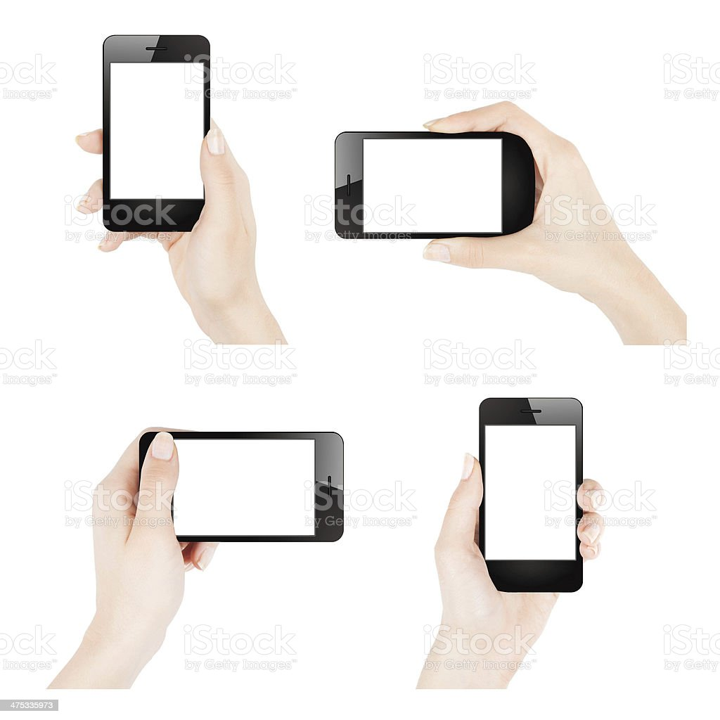 Female hands holding smartphone stock photo