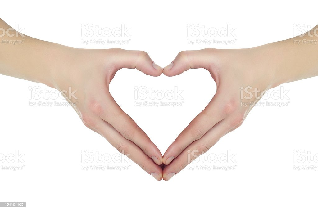 female hands in the form of heart isolated royalty-free stock photo