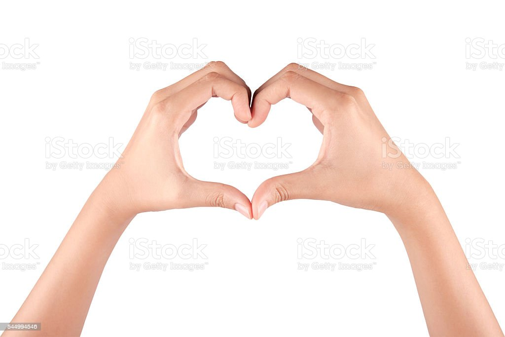 Female hands in the form of heart stock photo