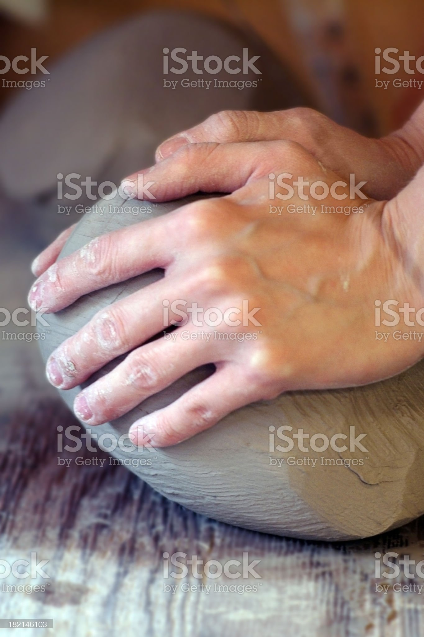 Female Hands Molding Clay royalty-free stock photo