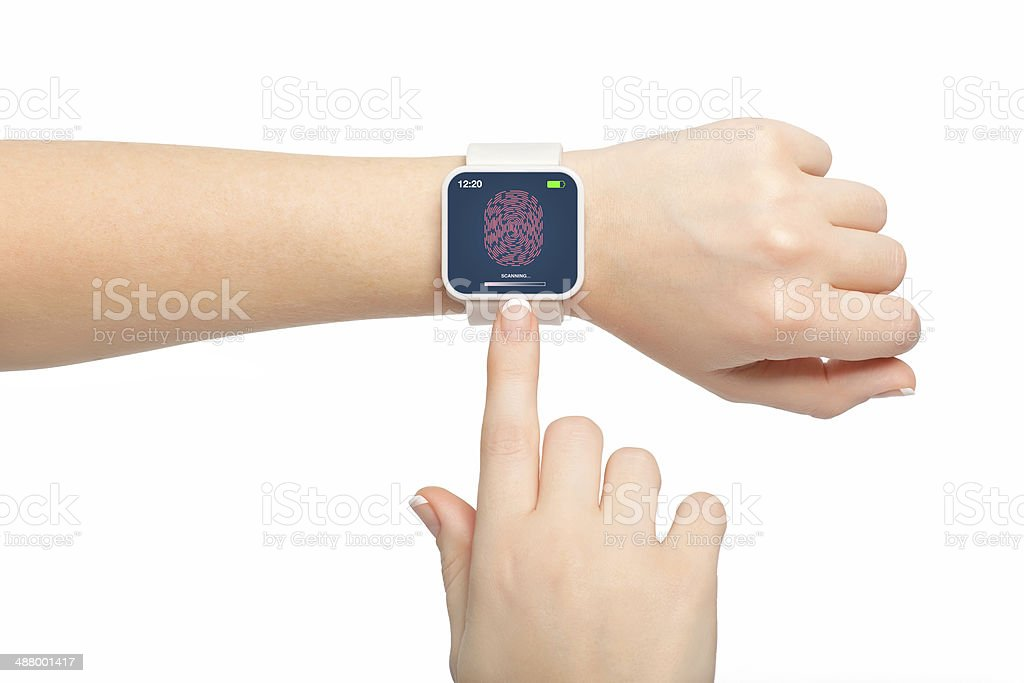 female hands smartwatch with a fingerprint stock photo