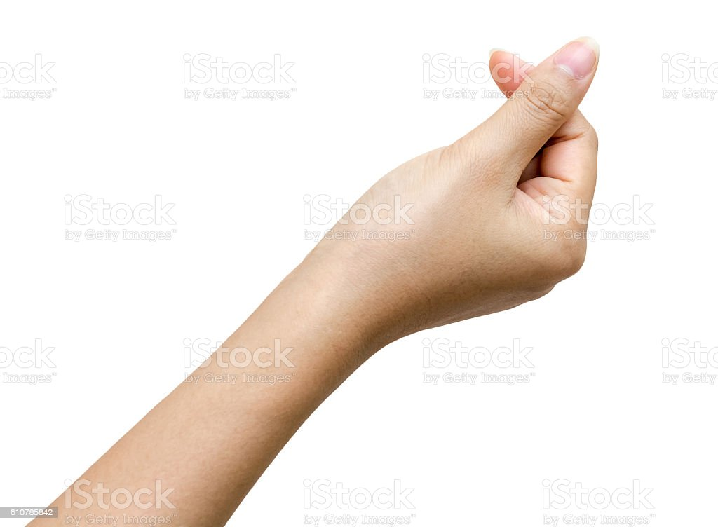 Female hands to hold paper card stock photo
