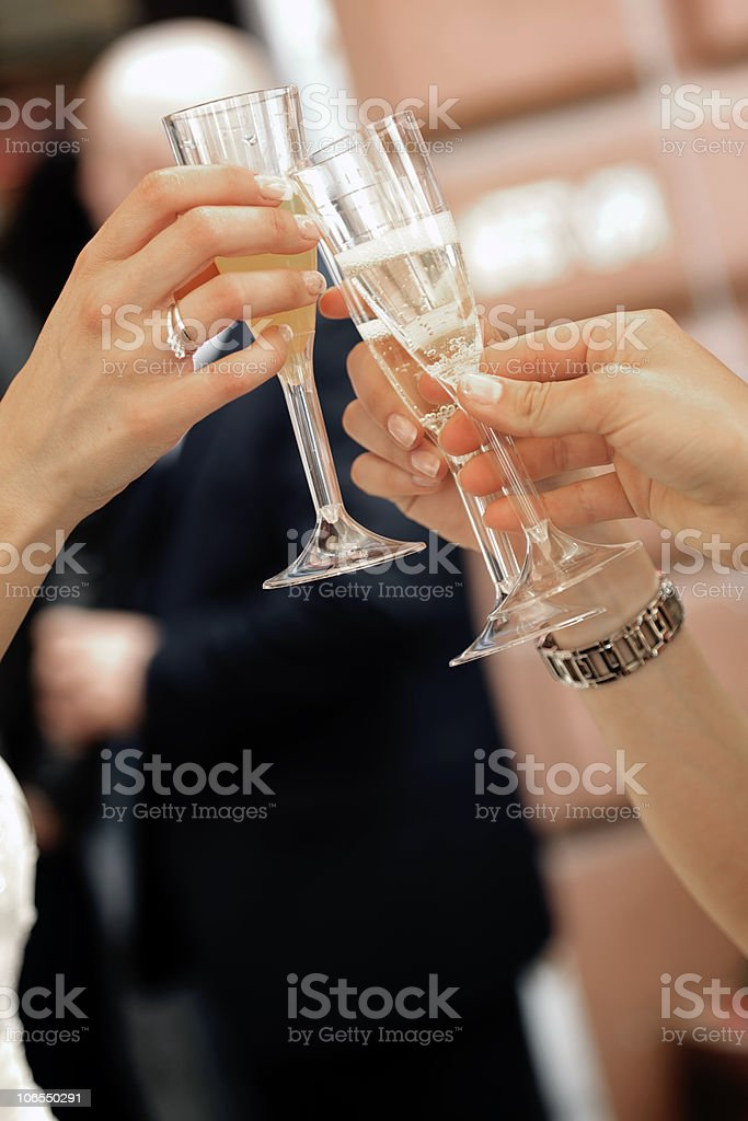 Female hands toasting chalices royalty-free stock photo