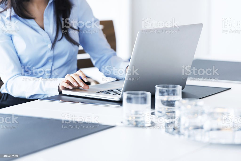Female Hands Typing on Notebook stock photo