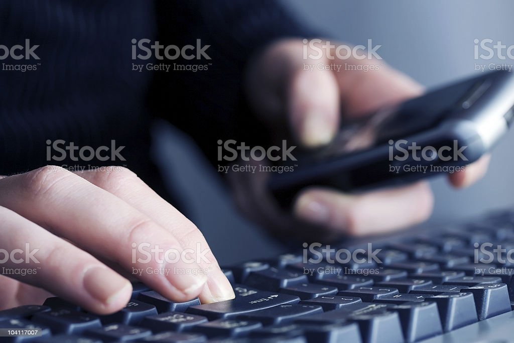 Female hands typing on the comuter keyboard royalty-free stock photo