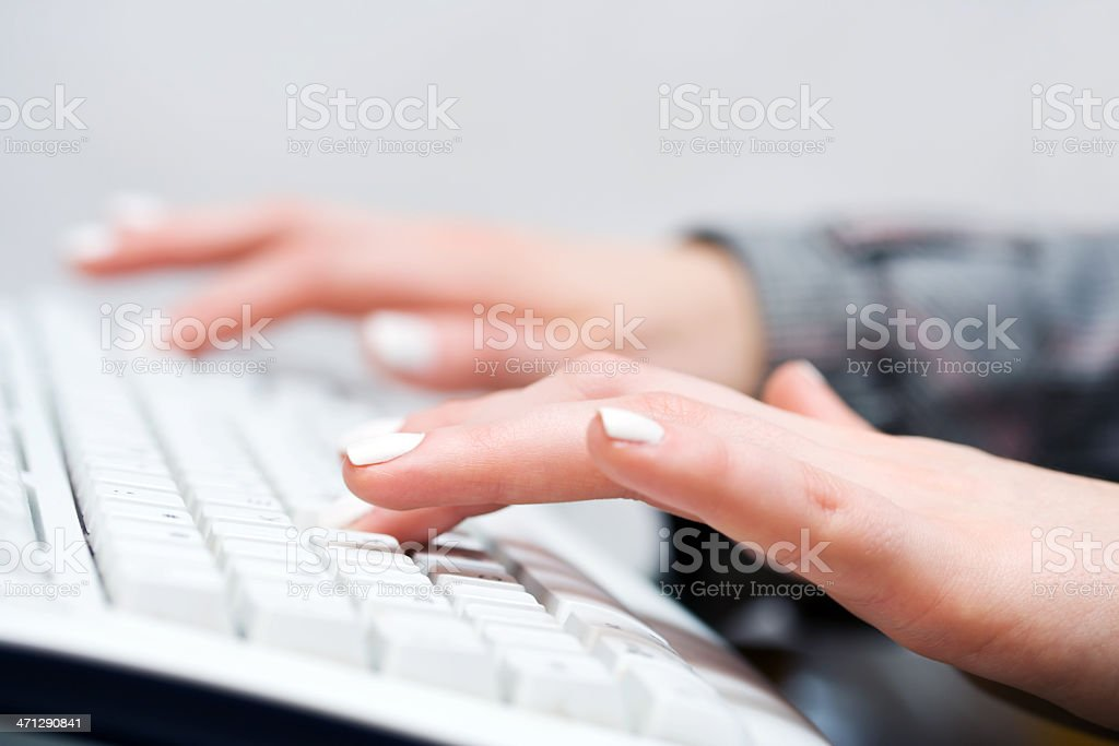 Female hands typing royalty-free stock photo