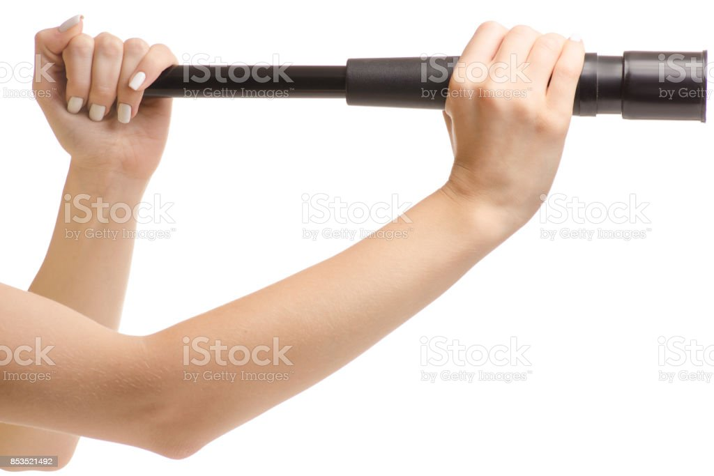 Female hands with a telescope stock photo