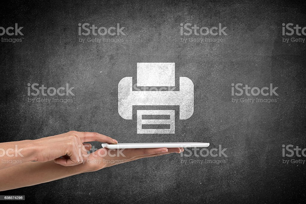 Female hands with digital tablet and printer icon stock photo