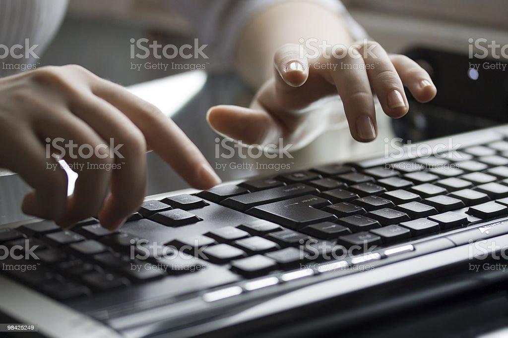 Female hands working on keyboard stock photo